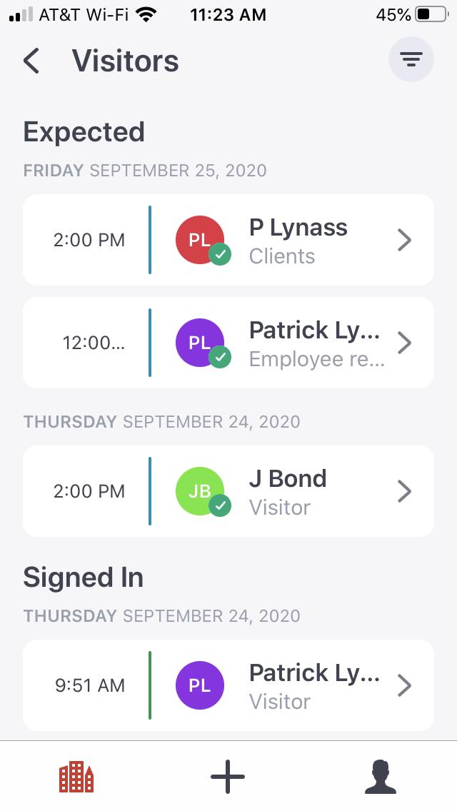 Product Screenshot:  Envoy Visitors 2